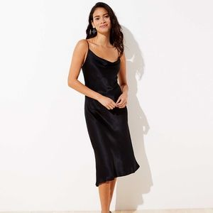 Black LOFT Draped Midi Slip Dress (NWT)